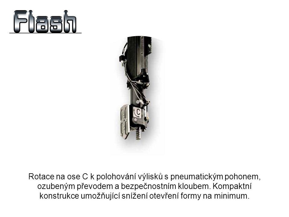 Rotace na ose C k polohování výlisků s pneumatickým pohonem, ozubeným převodem a bezpečnostním kloubem. Kompaktní konstrukce umožňující snížení otevře