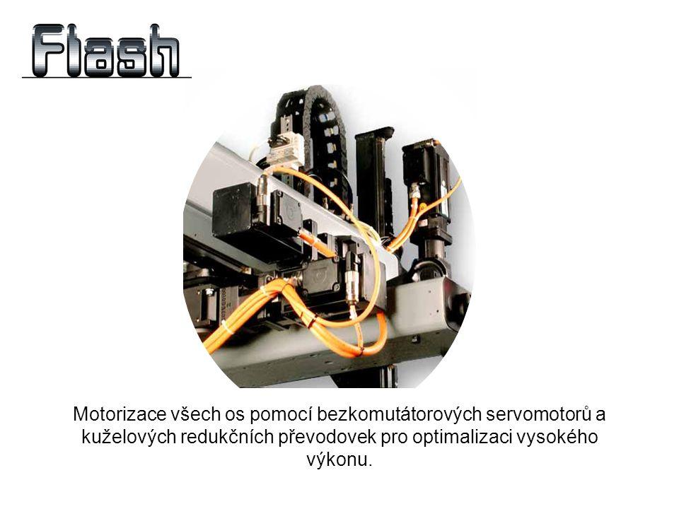 Motorizace všech os pomocí bezkomutátorových servomotorů a kuželových redukčních převodovek pro optimalizaci vysokého výkonu.