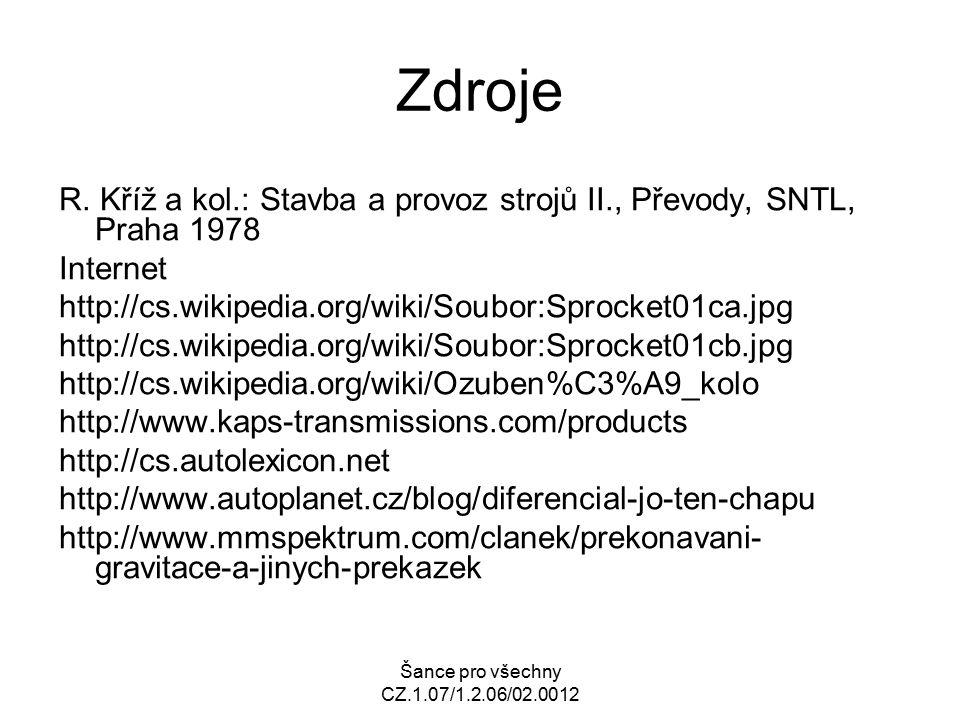Šance pro všechny CZ.1.07/1.2.06/02.0012 Zdroje R. Kříž a kol.: Stavba a provoz strojů II., Převody, SNTL, Praha 1978 Internet http://cs.wikipedia.org