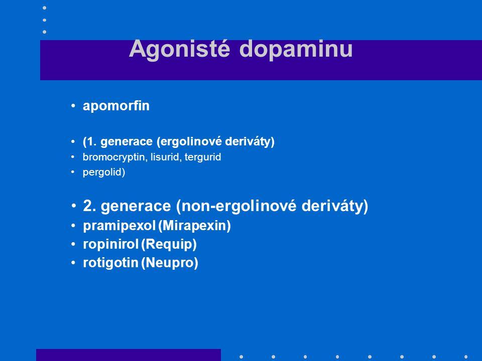 Agonisté dopaminu apomorfin (1. generace (ergolinové deriváty) bromocryptin, lisurid, tergurid pergolid) 2. generace (non-ergolinové deriváty) pramipe