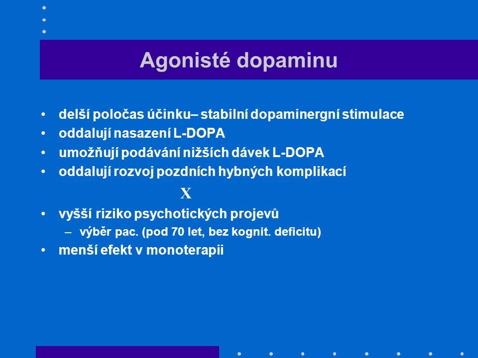 Agonisté dopaminu delší poločas účinku– stabilní dopaminergní stimulace oddalují nasazení L-DOPA umožňují podávání nižších dávek L-DOPA oddalují rozvoj pozdních hybných komplikací X vyšší riziko psychotických projevů –výběr pac.