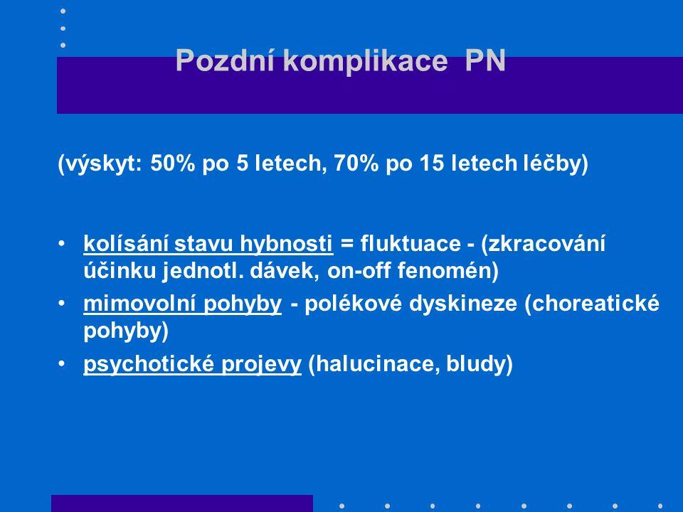 Pozdní komplikace PN (výskyt: 50% po 5 letech, 70% po 15 letech léčby) kolísání stavu hybnosti = fluktuace - (zkracování účinku jednotl. dávek, on-off