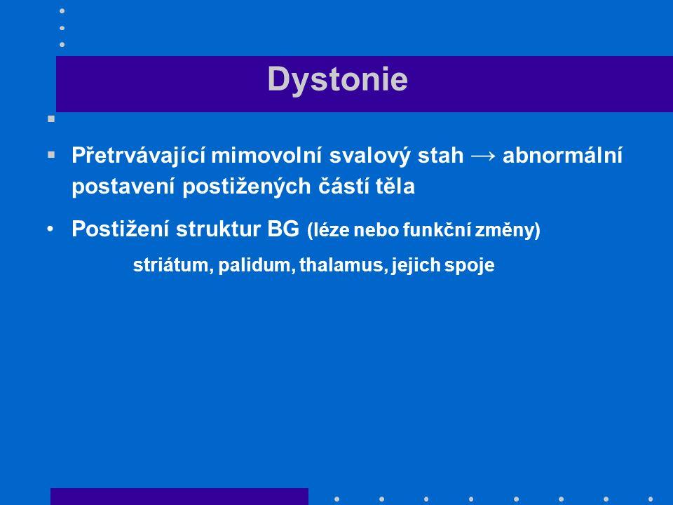 Dystonie   Přetrvávající mimovolní svalový stah → abnormální postavení postižených částí těla Postižení struktur BG (léze nebo funkční změny) striátum, palidum, thalamus, jejich spoje