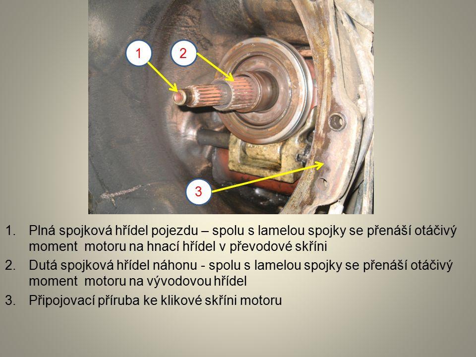 1.Plná spojková hřídel pojezdu – spolu s lamelou spojky se přenáší otáčivý moment motoru na hnací hřídel v převodové skříni 2.Dutá spojková hřídel náhonu - spolu s lamelou spojky se přenáší otáčivý moment motoru na vývodovou hřídel 3.Připojovací příruba ke klikové skříni motoru 12 3