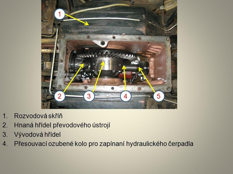 1.Rozvodová skříň 2.Hnaná hřídel převodového ústrojí 3.Vývodová hřídel 4.Přesouvací ozubené kolo pro zapínaní hydraulického čerpadla 1 2345