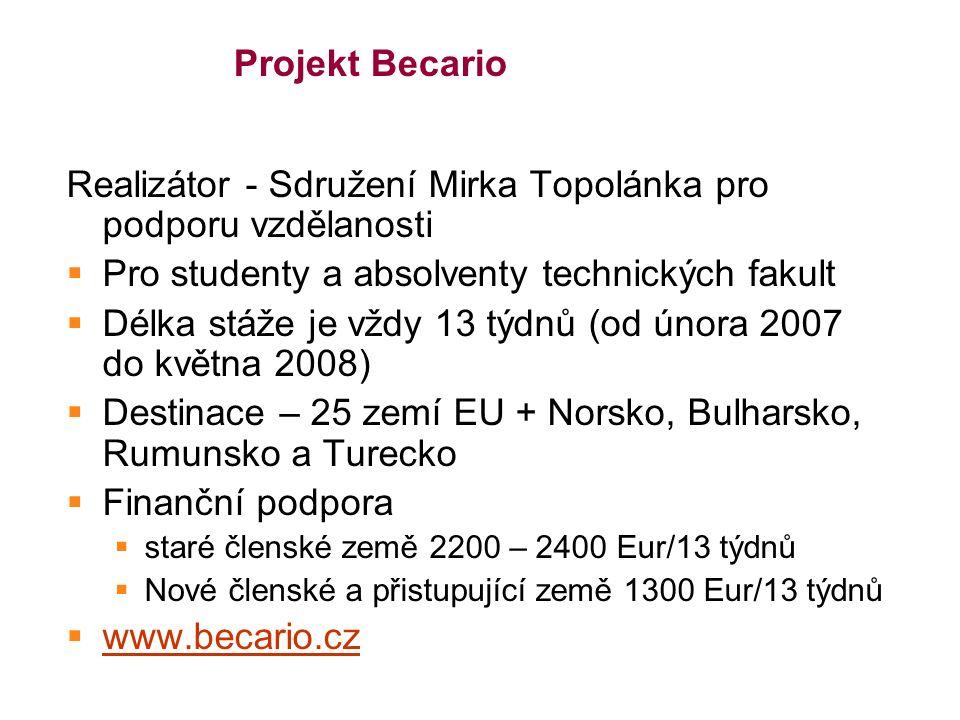 Projekt Becario Realizátor - Sdružení Mirka Topolánka pro podporu vzdělanosti  Pro studenty a absolventy technických fakult  Délka stáže je vždy 13 týdnů (od února 2007 do května 2008)  Destinace – 25 zemí EU + Norsko, Bulharsko, Rumunsko a Turecko  Finanční podpora  staré členské země 2200 – 2400 Eur/13 týdnů  Nové členské a přistupující země 1300 Eur/13 týdnů  www.becario.cz www.becario.cz