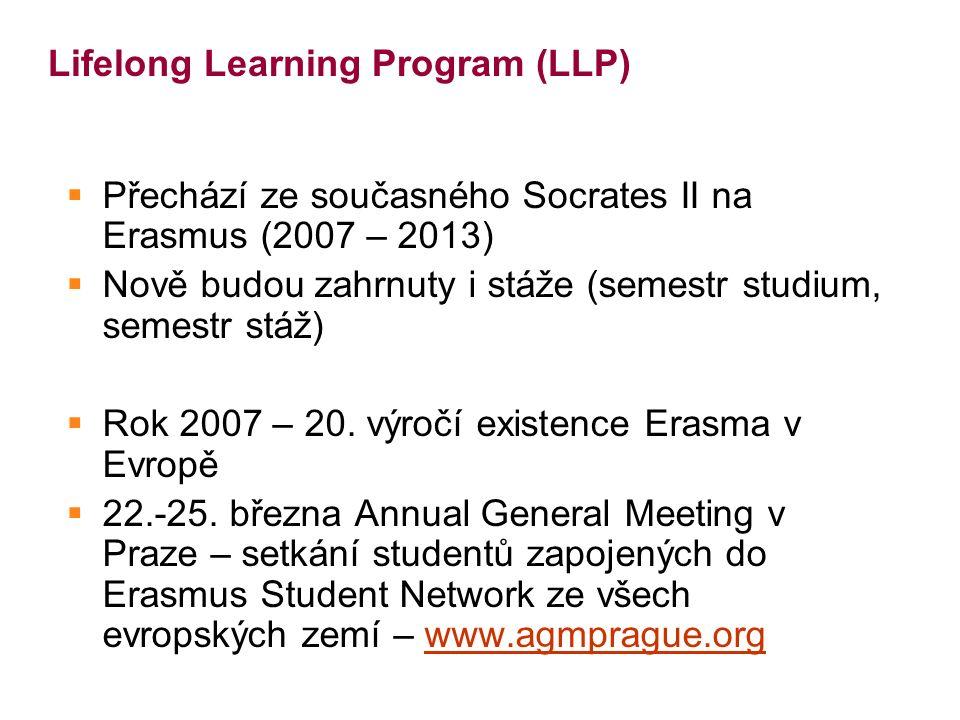 Lifelong Learning Program (LLP)  Přechází ze současného Socrates II na Erasmus (2007 – 2013)  Nově budou zahrnuty i stáže (semestr studium, semestr stáž)  Rok 2007 – 20.
