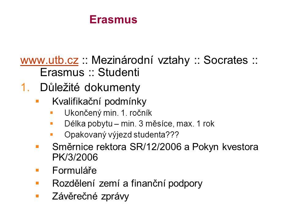 Erasmus www.utb.czwww.utb.cz :: Mezinárodní vztahy :: Socrates :: Erasmus :: Studenti 1.Důležité dokumenty  Kvalifikační podmínky  Ukončený min.