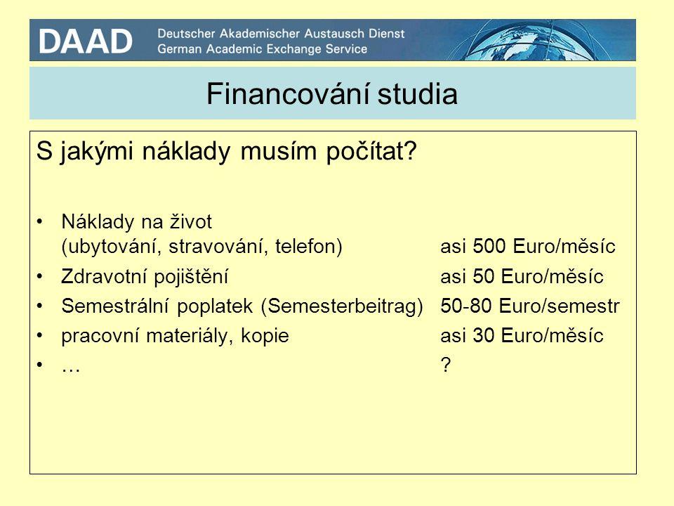 Financování studia S jakými náklady musím počítat.