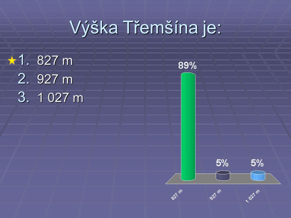 Výška Třemšína je: 1. 827 m 2. 927 m 3. 1 027 m
