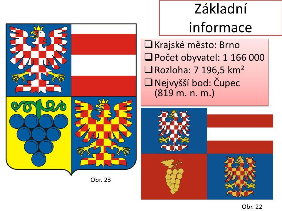 Základní informace  Krajské město: Brno  Počet obyvatel: 1 166 000  Rozloha: 7 196,5 km²  Nejvyšší bod: Čupec (819 m.
