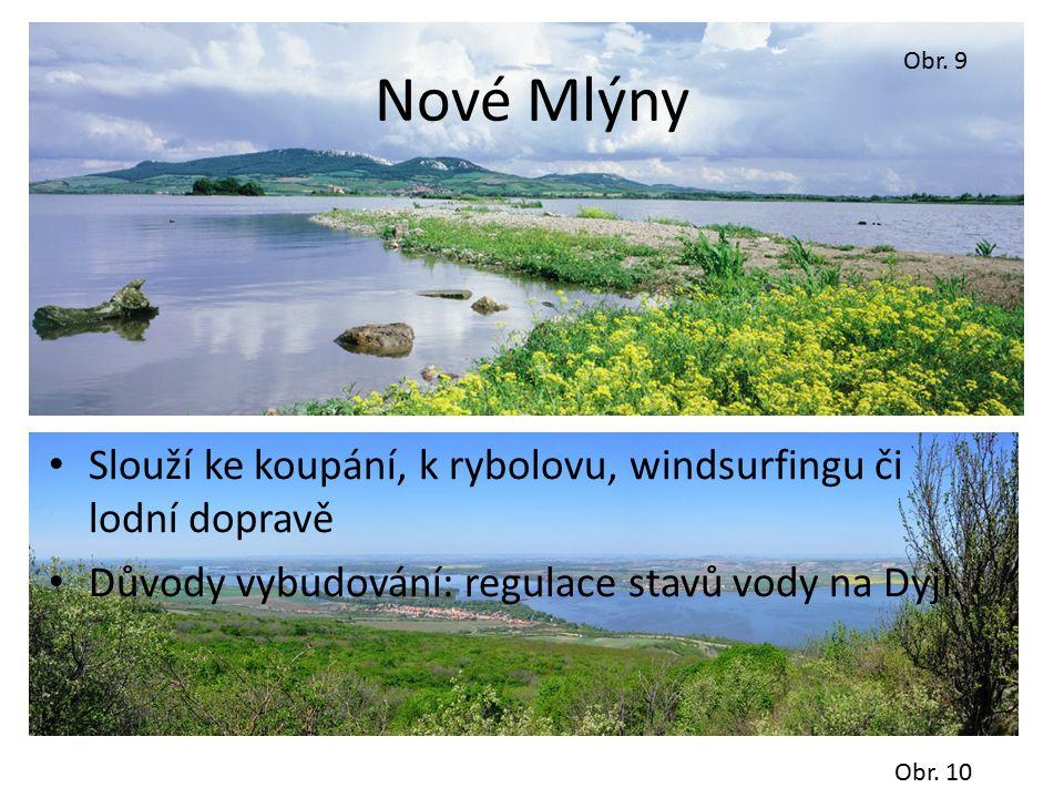 Nové Mlýny Slouží ke koupání, k rybolovu, windsurfingu či lodní dopravě Důvody vybudování: regulace stavů vody na Dyji.