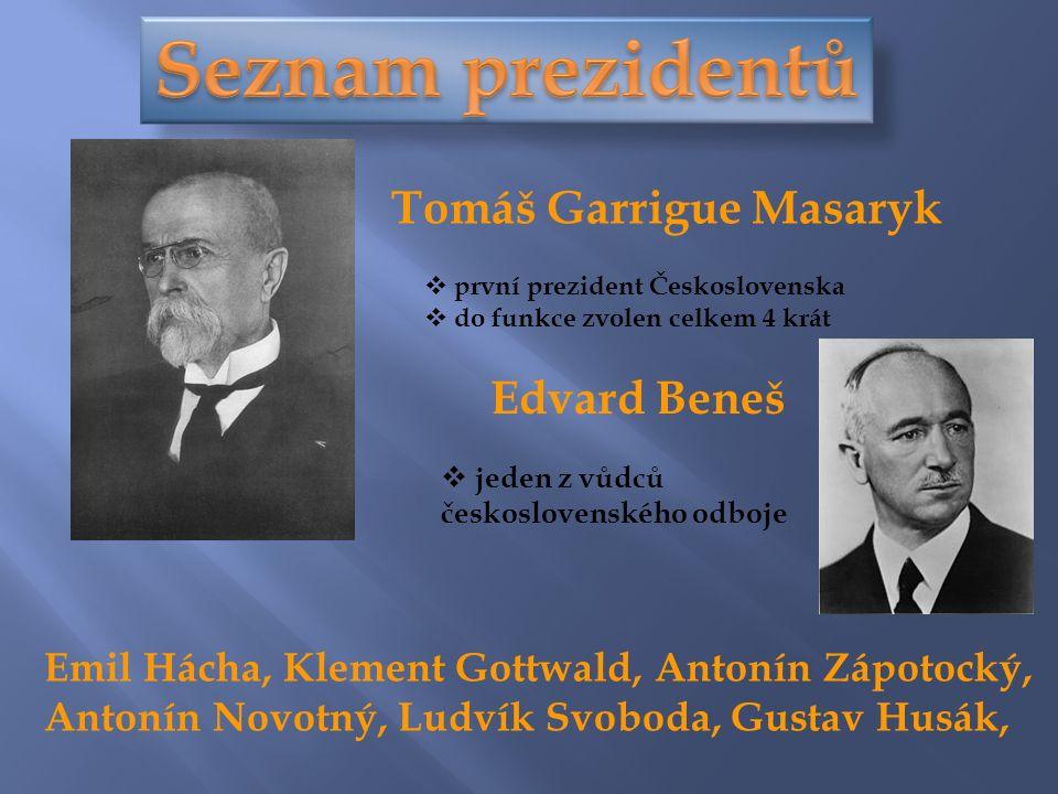 Tomáš Garrigue Masaryk  první prezident Československa  do funkce zvolen celkem 4 krát Edvard Beneš  jeden z vůdců československého odboje Emil Hácha, Klement Gottwald, Antonín Zápotocký, Antonín Novotný, Ludvík Svoboda, Gustav Husák,