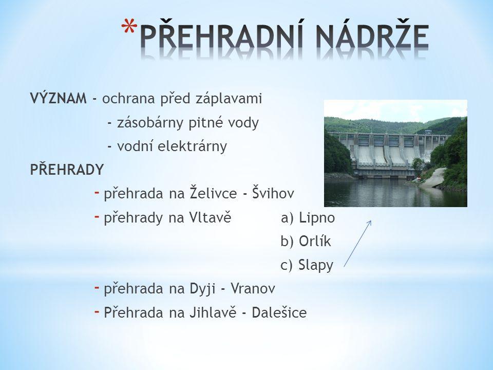 VÝZNAM - ochrana před záplavami - zásobárny pitné vody - vodní elektrárny PŘEHRADY - přehrada na Želivce - Švihov - přehrady na Vltavě a) Lipno b) Orlík c) Slapy - přehrada na Dyji - Vranov - Přehrada na Jihlavě - Dalešice