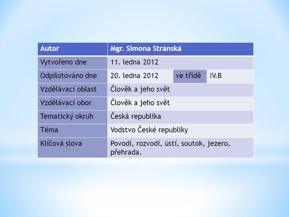 AutorMgr. Simona Stránská Vytvořeno dne11. ledna 2012 Odpilotováno dne20.