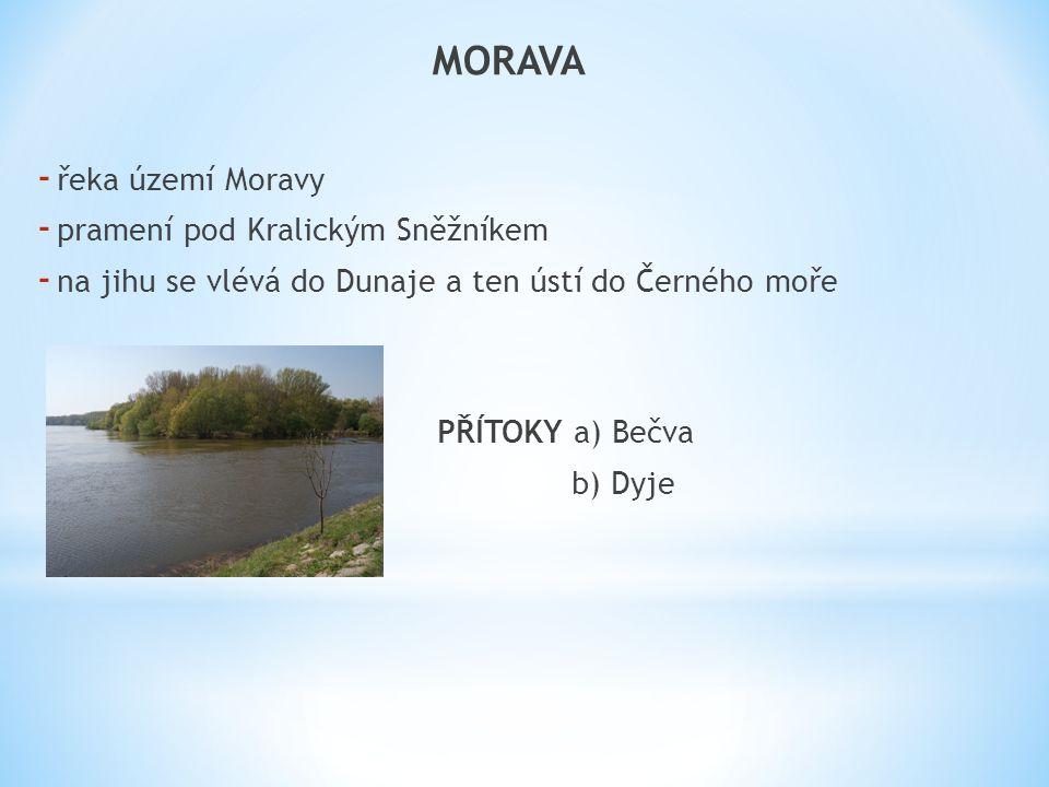 MORAVA - řeka území Moravy - pramení pod Kralickým Sněžníkem - na jihu se vlévá do Dunaje a ten ústí do Černého moře PŘÍTOKY a) Bečva b) Dyje