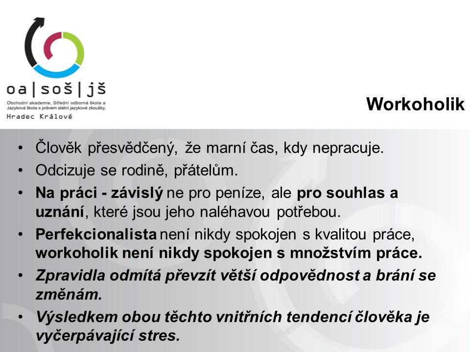 Workoholik Člověk přesvědčený, že marní čas, kdy nepracuje.