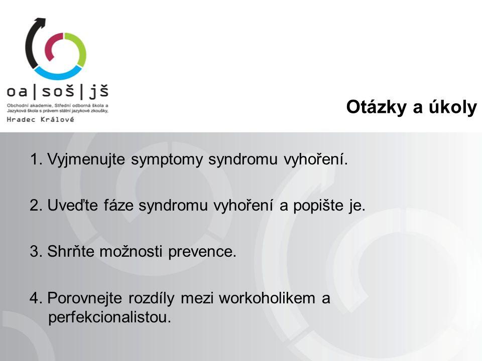 Otázky a úkoly 1. Vyjmenujte symptomy syndromu vyhoření.