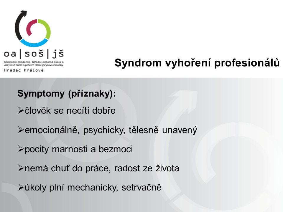 Syndrom vyhoření profesionálů Symptomy (příznaky):  člověk se necítí dobře  emocionálně, psychicky, tělesně unavený  pocity marnosti a bezmoci  nemá chuť do práce, radost ze života  úkoly plní mechanicky, setrvačně