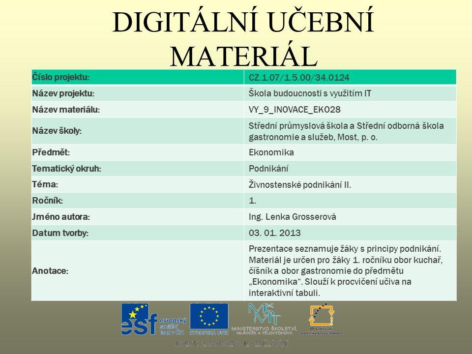 DIGITÁLNÍ UČEBNÍ MATERIÁL Číslo projektu: CZ.1.07/1.5.00/34.0124 Název projektu: Škola budoucnosti s využitím IT Název materiálu: VY_9_INOVACE_EKO28 N
