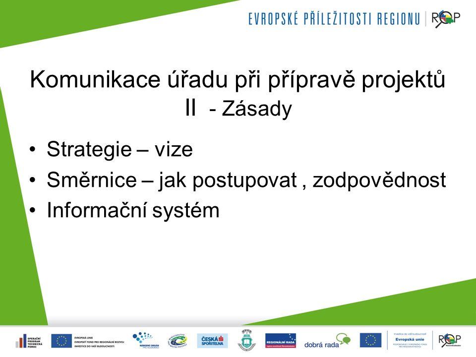 Komunikace úřadu při přípravě projektů II - Zásady Strategie – vize Směrnice – jak postupovat, zodpovědnost Informační systém
