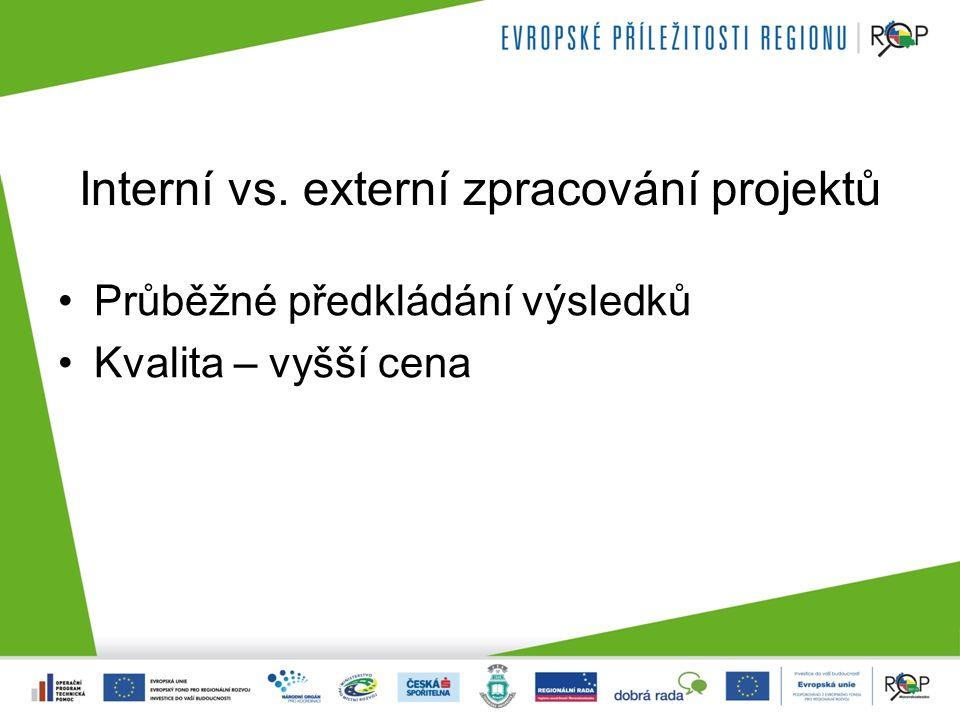 Interní vs. externí zpracování projektů Průběžné předkládání výsledků Kvalita – vyšší cena