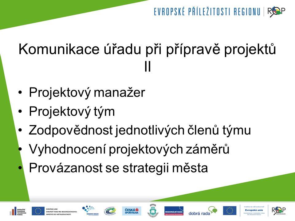 Komunikace úřadu při přípravě projektů II Projektový manažer Projektový tým Zodpovědnost jednotlivých členů týmu Vyhodnocení projektových záměrů Provázanost se strategii města
