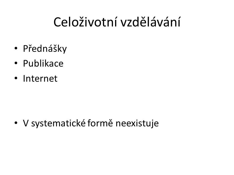 Celoživotní vzdělávání Přednášky Publikace Internet V systematické formě neexistuje