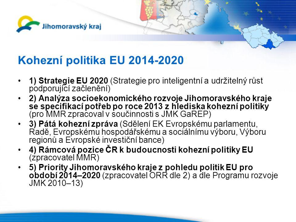 Kohezní politika EU 2014-2020 1) Strategie EU 2020 (Strategie pro inteligentní a udržitelný růst podporující začlenění) 2) Analýza socioekonomického rozvoje Jihomoravského kraje se specifikací potřeb po roce 2013 z hlediska kohezní politiky (pro MMR zpracoval v součinnosti s JMK GaREP) 3) Pátá kohezní zpráva (Sdělení EK Evropskému parlamentu, Radě, Evropskému hospodářskému a sociálnímu výboru, Výboru regionů a Evropské investiční bance) 4) Rámcová pozice ČR k budoucnosti kohezní politiky EU (zpracovatel MMR) 5) Priority Jihomoravského kraje z pohledu politik EU pro období 2014–2020 (zpracovatel ORR dle 2) a dle Programu rozvoje JMK 2010–13)