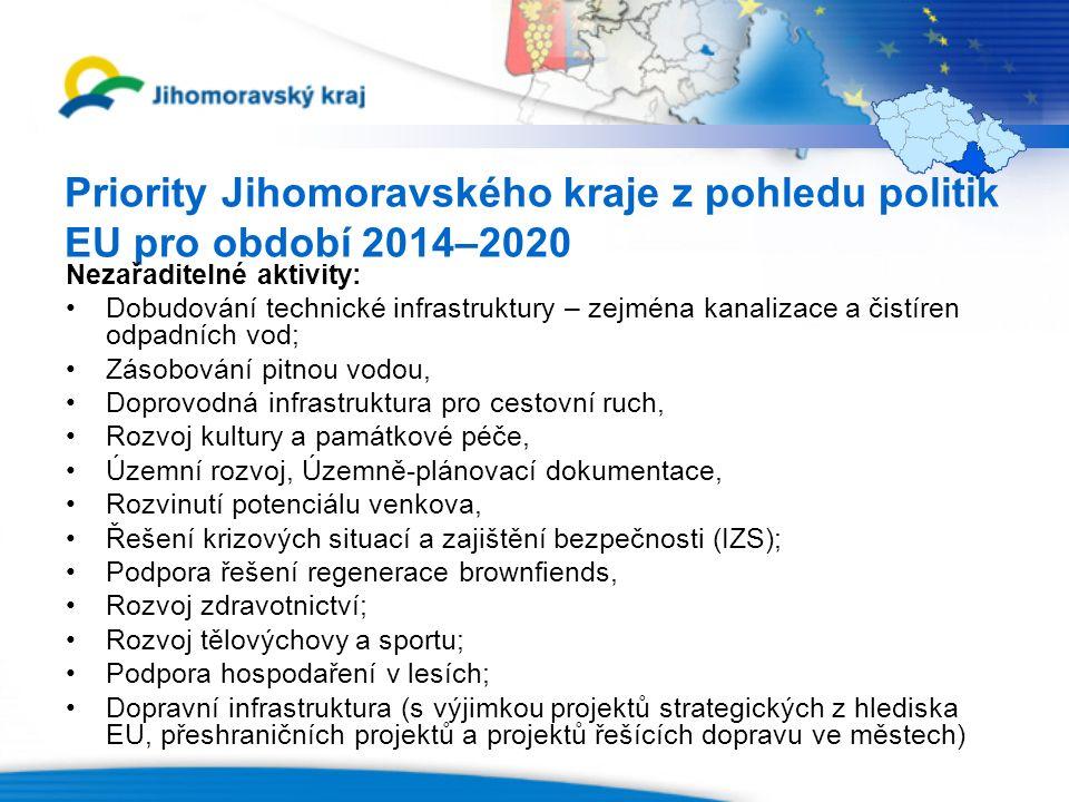 Priority Jihomoravského kraje z pohledu politik EU pro období 2014–2020 Nezařaditelné aktivity: Dobudování technické infrastruktury – zejména kanalizace a čistíren odpadních vod; Zásobování pitnou vodou, Doprovodná infrastruktura pro cestovní ruch, Rozvoj kultury a památkové péče, Územní rozvoj, Územně-plánovací dokumentace, Rozvinutí potenciálu venkova, Řešení krizových situací a zajištění bezpečnosti (IZS); Podpora řešení regenerace brownfiends, Rozvoj zdravotnictví; Rozvoj tělovýchovy a sportu; Podpora hospodaření v lesích; Dopravní infrastruktura (s výjimkou projektů strategických z hlediska EU, přeshraničních projektů a projektů řešících dopravu ve městech)