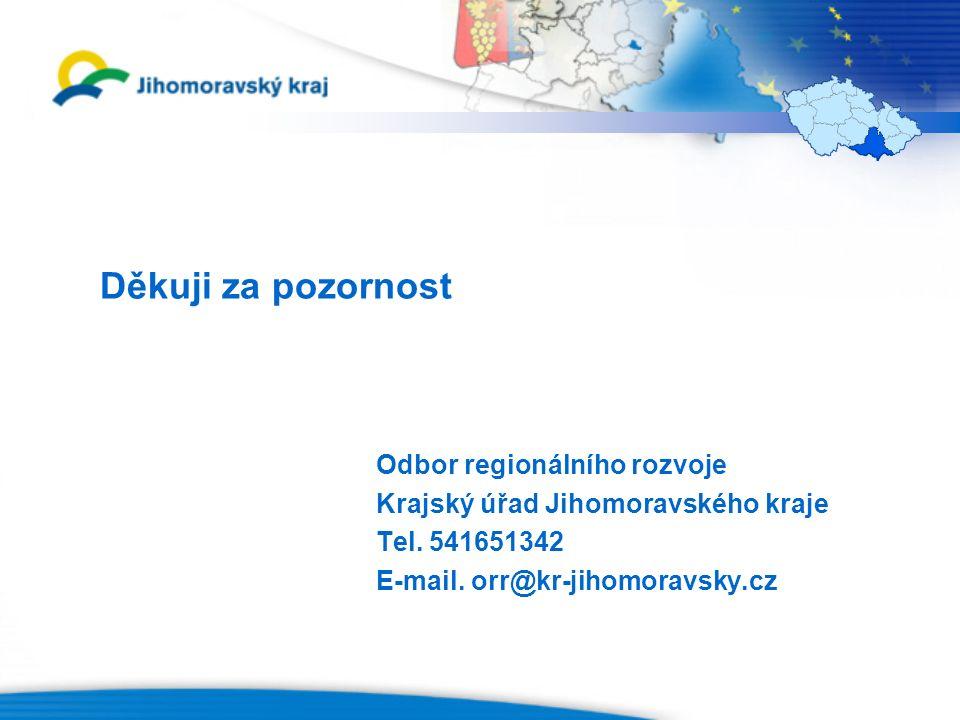 Děkuji za pozornost Odbor regionálního rozvoje Krajský úřad Jihomoravského kraje Tel.