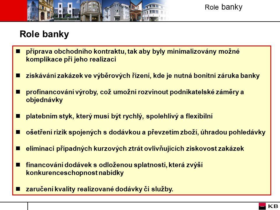 Role banky příprava obchodního kontraktu, tak aby byly minimalizovány možné komplikace při jeho realizaci získávání zakázek ve výběrových řízení, kde je nutná bonitní záruka banky profinancování výroby, což umožní rozvinout podnikatelské záměry a objednávky platebním styk, který musí být rychlý, spolehlivý a flexibilní ošetření rizik spojených s dodávkou a převzetím zboží, úhradou pohledávky eliminaci případných kurzových ztrát ovlivňujících ziskovost zakázek financování dodávek s odloženou splatností, která zvýší konkurenceschopnost nabídky zaručení kvality realizované dodávky či služby.