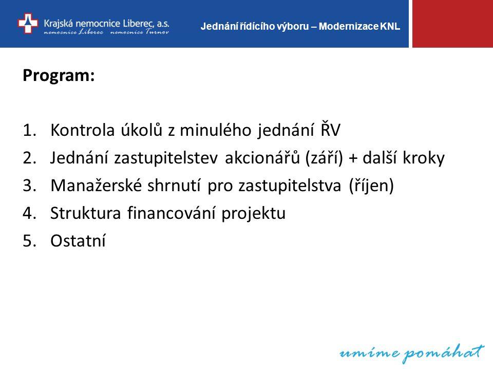 Jednání řídícího výboru – Modernizace KNL Program: 1.Kontrola úkolů z minulého jednání ŘV 2.Jednání zastupitelstev akcionářů (září) + další kroky 3.Manažerské shrnutí pro zastupitelstva (říjen) 4.Struktura financování projektu 5.Ostatní