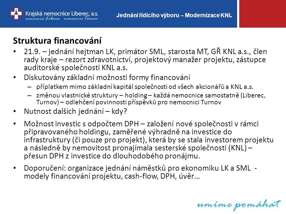 Jednání řídícího výboru – Modernizace KNL Struktura financování 21.9.