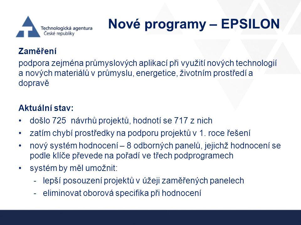 Nové programy – EPSILON Zaměření podpora zejména průmyslových aplikací při využití nových technologií a nových materiálů v průmyslu, energetice, životním prostředí a dopravě Aktuální stav: došlo 725 návrhů projektů, hodnotí se 717 z nich zatím chybí prostředky na podporu projektů v 1.