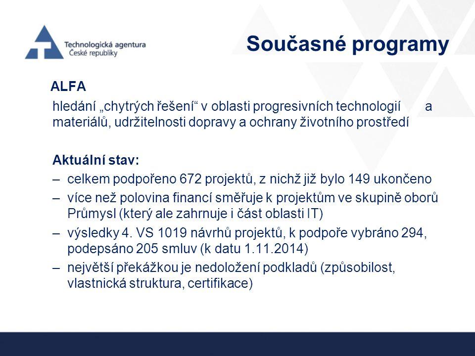 """Současné programy ALFA hledání """"chytrých řešení v oblasti progresivních technologií a materiálů, udržitelnosti dopravy a ochrany životního prostředí Aktuální stav: –celkem podpořeno 672 projektů, z nichž již bylo 149 ukončeno –více než polovina financí směřuje k projektům ve skupině oborů Průmysl (který ale zahrnuje i část oblasti IT) –výsledky 4."""