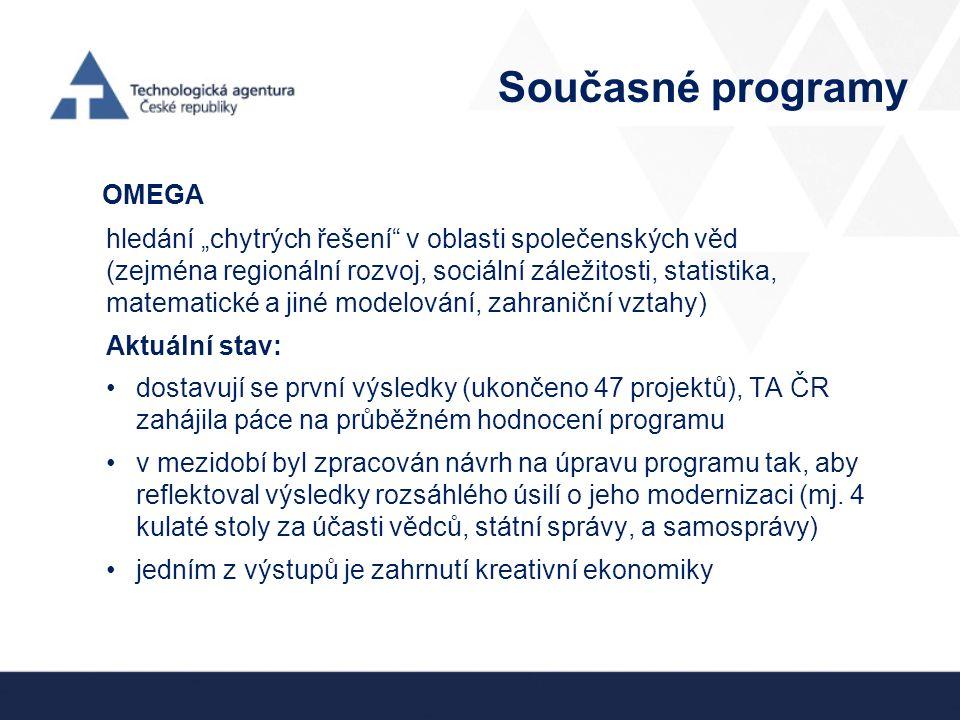 """Současné programy OMEGA hledání """"chytrých řešení v oblasti společenských věd (zejména regionální rozvoj, sociální záležitosti, statistika, matematické a jiné modelování, zahraniční vztahy) Aktuální stav: dostavují se první výsledky (ukončeno 47 projektů), TA ČR zahájila páce na průběžném hodnocení programu v mezidobí byl zpracován návrh na úpravu programu tak, aby reflektoval výsledky rozsáhlého úsilí o jeho modernizaci (mj."""