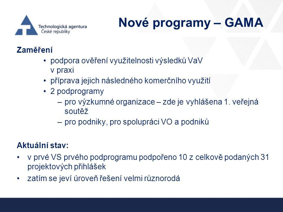 Nové programy – GAMA Zaměření podpora ověření využitelnosti výsledků VaV v praxi příprava jejich následného komerčního využití 2 podprogramy –pro výzkumné organizace – zde je vyhlášena 1.