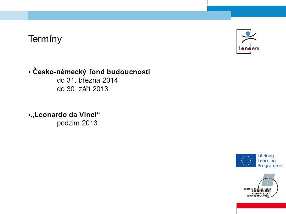 Termíny Česko-německý fond budoucnosti do 31. března 2014 do 30.