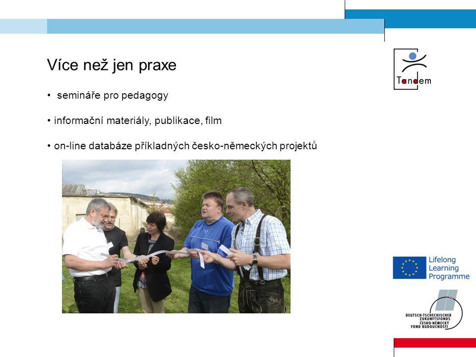 Více než jen praxe semináře pro pedagogy informační materiály, publikace, film on-line databáze příkladných česko-německých projektů