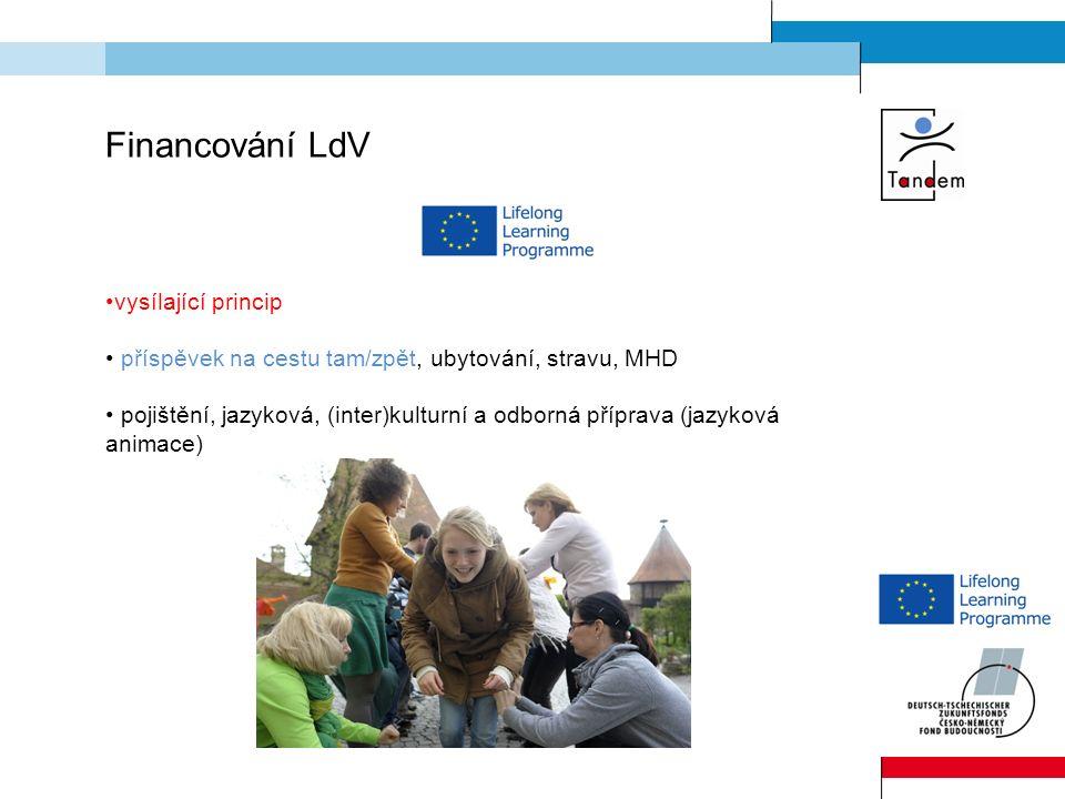 Financování LdV vysílající princip příspěvek na cestu tam/zpět, ubytování, stravu, MHD pojištění, jazyková, (inter)kulturní a odborná příprava (jazyková animace)