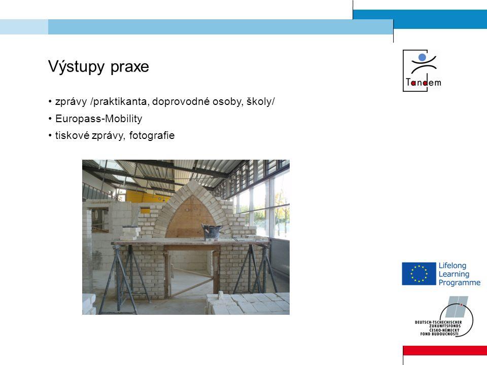Výstupy praxe zprávy /praktikanta, doprovodné osoby, školy/ Europass-Mobility tiskové zprávy, fotografie