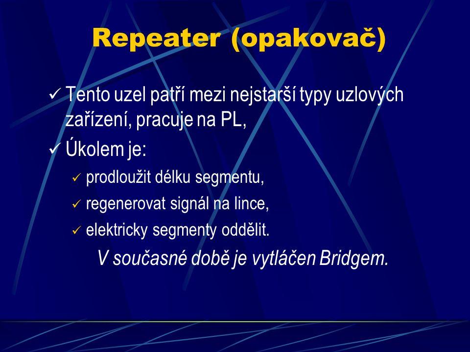 Repeater (opakovač) Tento uzel patří mezi nejstarší typy uzlových zařízení, pracuje na PL, Úkolem je: prodloužit délku segmentu, regenerovat signál na lince, elektricky segmenty oddělit.