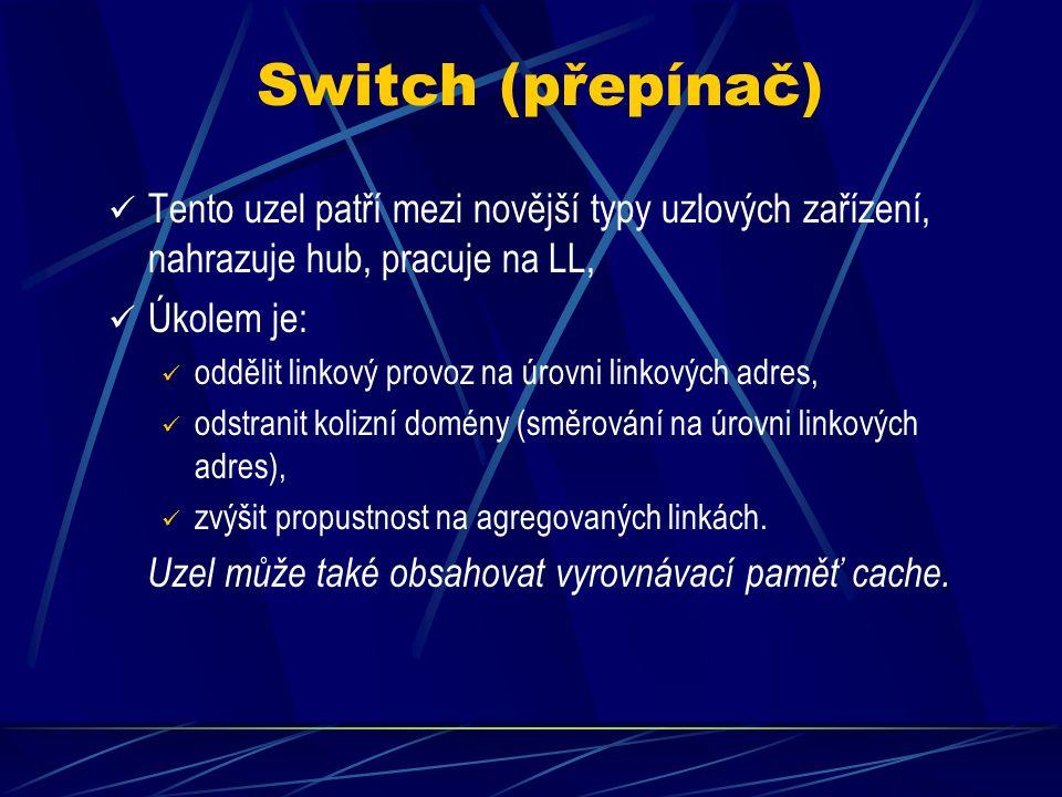 Switch (přepínač) Tento uzel patří mezi novější typy uzlových zařízení, nahrazuje hub, pracuje na LL, Úkolem je: oddělit linkový provoz na úrovni linkových adres, odstranit kolizní domény (směrování na úrovni linkových adres), zvýšit propustnost na agregovaných linkách.