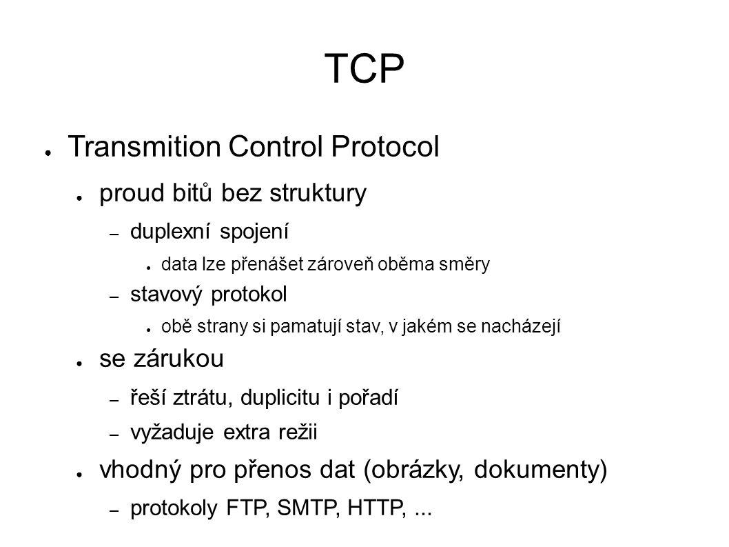 TCP ● Transmition Control Protocol ● proud bitů bez struktury – duplexní spojení ● data lze přenášet zároveň oběma směry – stavový protokol ● obě strany si pamatují stav, v jakém se nacházejí ● se zárukou – řeší ztrátu, duplicitu i pořadí – vyžaduje extra režii ● vhodný pro přenos dat (obrázky, dokumenty) – protokoly FTP, SMTP, HTTP,...