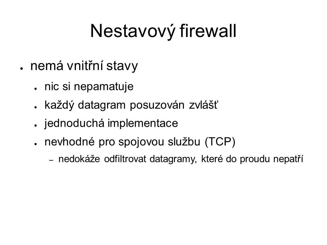 Nestavový firewall ● nemá vnitřní stavy ● nic si nepamatuje ● každý datagram posuzován zvlášť ● jednoduchá implementace ● nevhodné pro spojovou službu (TCP) – nedokáže odfiltrovat datagramy, které do proudu nepatří