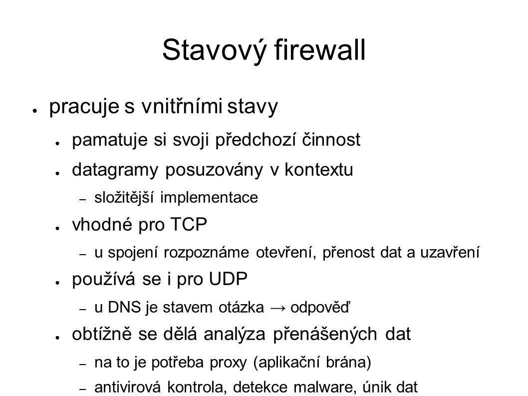 Stavový firewall ● pracuje s vnitřními stavy ● pamatuje si svoji předchozí činnost ● datagramy posuzovány v kontextu – složitější implementace ● vhodn