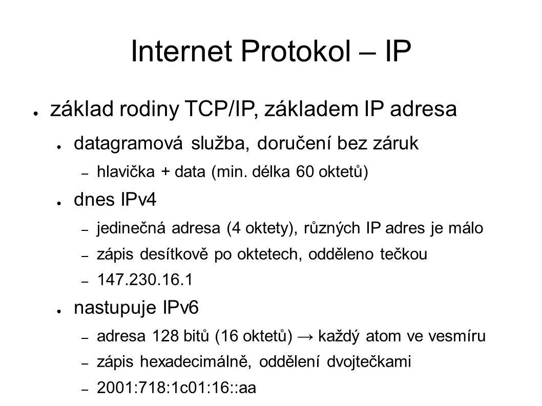 Internet Protokol – IP ● základ rodiny TCP/IP, základem IP adresa ● datagramová služba, doručení bez záruk – hlavička + data (min. délka 60 oktetů) ●