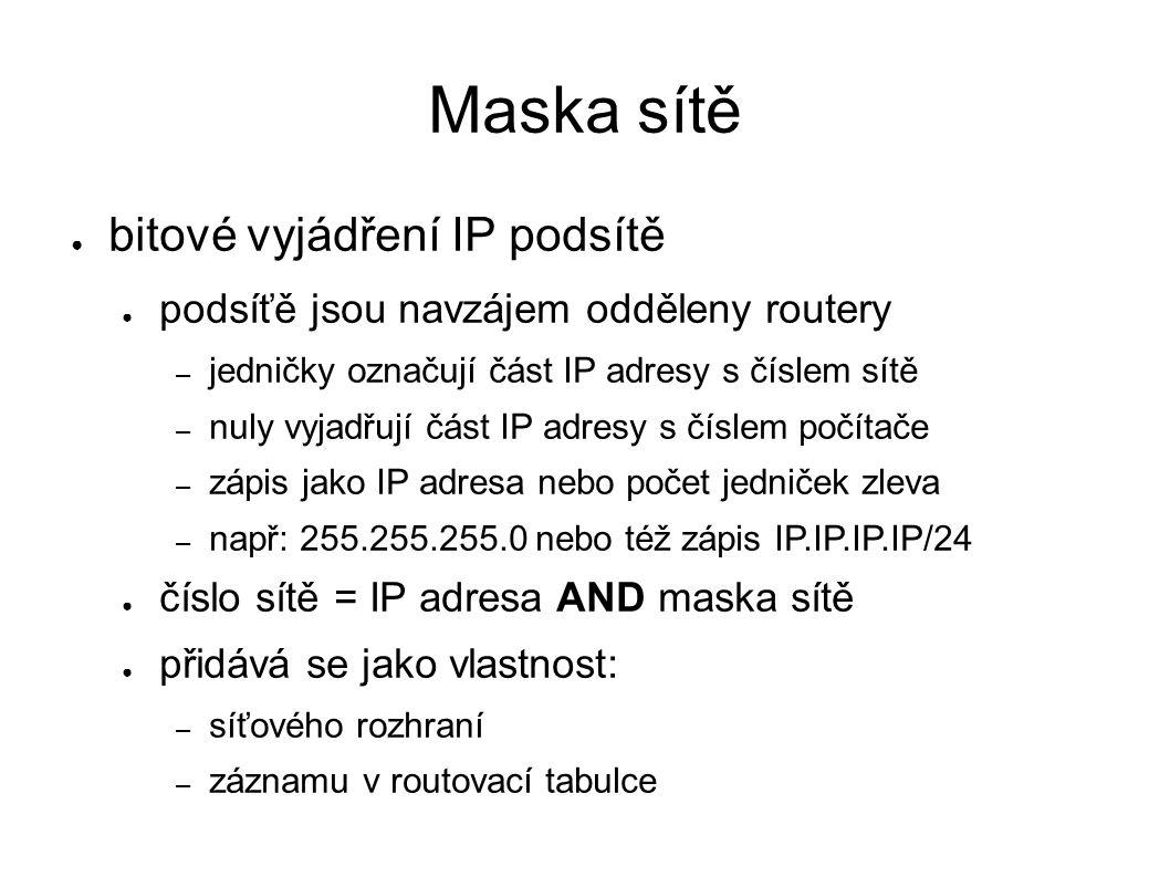 Maska sítě ● bitové vyjádření IP podsítě ● podsíťě jsou navzájem odděleny routery – jedničky označují část IP adresy s číslem sítě – nuly vyjadřují čá