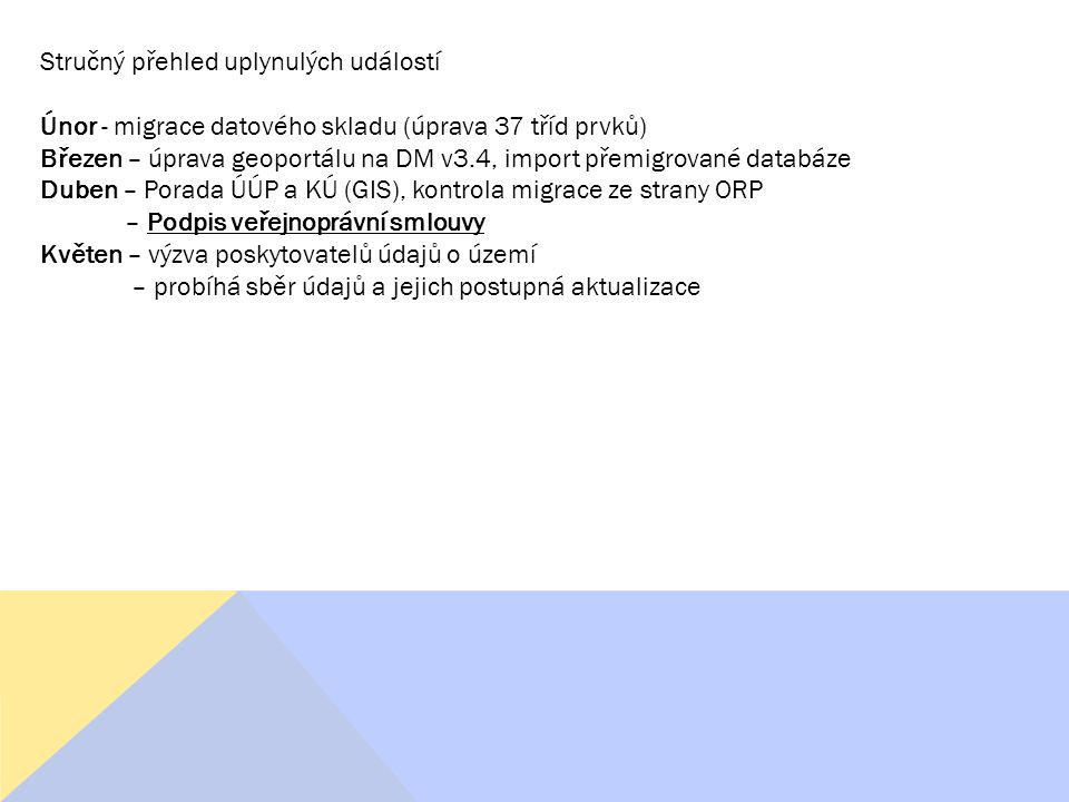 Stručný přehled uplynulých událostí Únor - migrace datového skladu (úprava 37 tříd prvků) Březen – úprava geoportálu na DM v3.4, import přemigrované databáze Duben – Porada ÚÚP a KÚ (GIS), kontrola migrace ze strany ORP – Podpis veřejnoprávní smlouvy Květen – výzva poskytovatelů údajů o území – probíhá sběr údajů a jejich postupná aktualizace